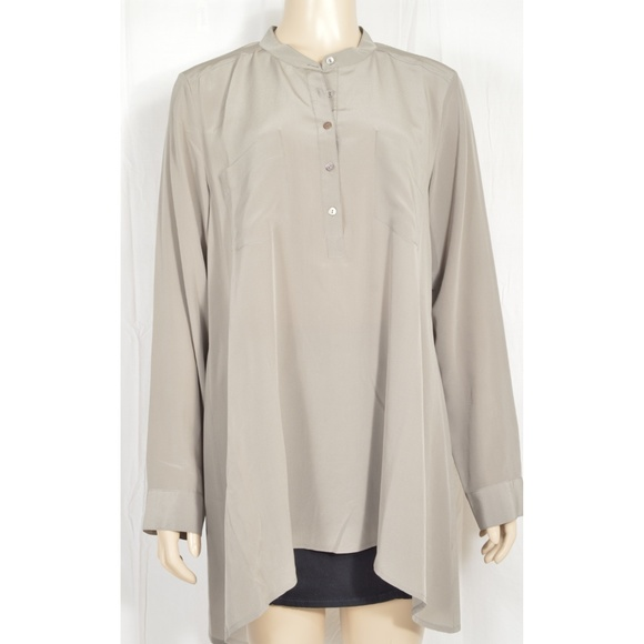 Eileen Fisher Tops - Eileen Fisher top tunic shirt SZ M gray long sleev